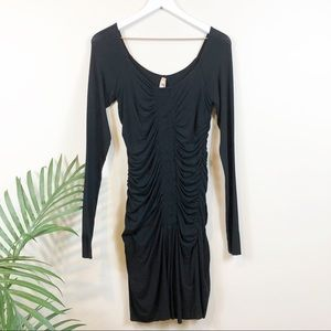 Bailey 44 Black Ruched Knit Dress M